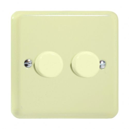 Varilight JYP252.WC Lily Pastel White Chocolate 2 Gang 2-Way Push-On/Off LED Dimmer 0-120W V-Pro